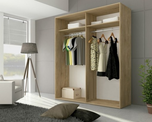 Inside the Cremona wardrobe. Two hanging bars and shelves