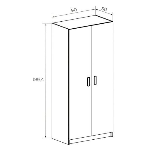 Dimensions of the 2 doors wardrobe in white and light brown - Rimini