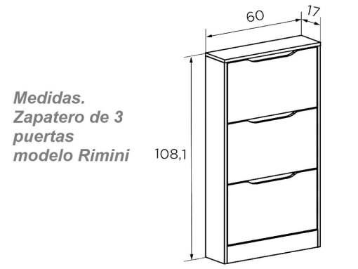 Medidas. Zapatero de tres puertas color blanco y roble modelo Rimini