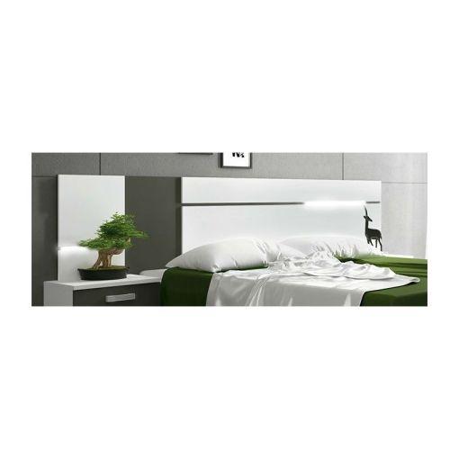 Cabecero con luces LED, colores blanco y gris - Cremona