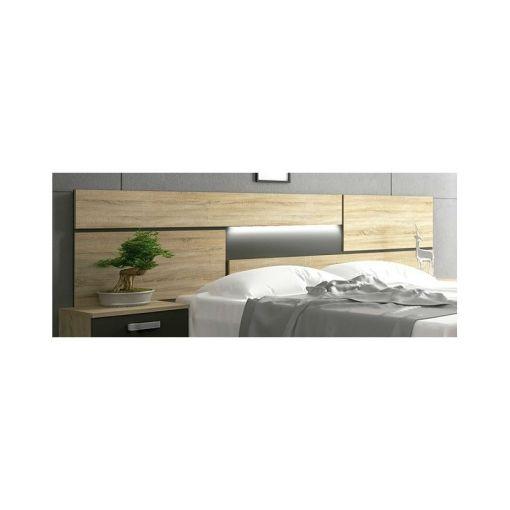 Настенное изголовье кровати с подсветкой LED - Cremona. Коричневый и серый цвета