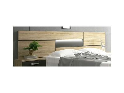 Wall Mounted Headboard with LED Lights - Cremona. Brown and Grey