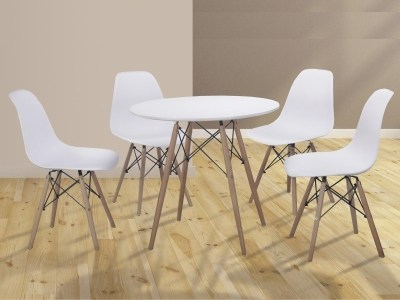 Dining Set in White - Round Table and 4 Chairs - Bergen