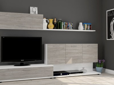 "Living room storage combination with TV stand, 250 cm - Ferrara. Grey (Doors) and ""Pino"" Colours"