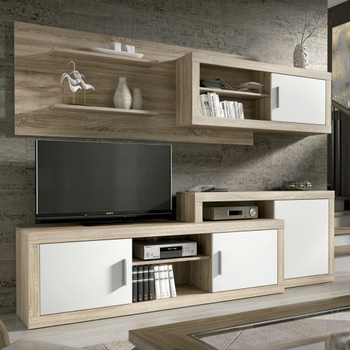 Conjunto modular de salón, 241 cm - Messina. Colores roble y blanco