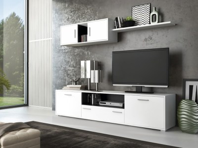 Furniture Set For Small Living Room, 200 cm - Reggio. White and grey colours