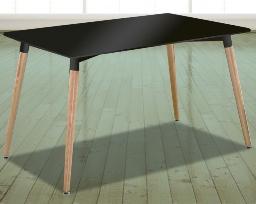 Mesa negra rectangular comedor con patas de madera, 130 x 80 cm - Bergen