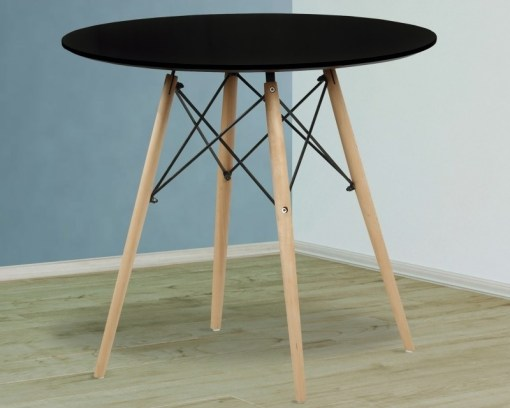 Black Round Dining Table with Wooden Legs and Metal Supports - Bergen