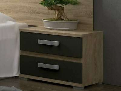 Bedside Table (Two Drawer) in Brown and Grey - Cremona