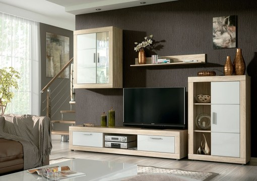 Mueble de salón con LED - 2 vitrinas, bajo TV y estande, 259 cm - Ancona. Colores roble y blanco