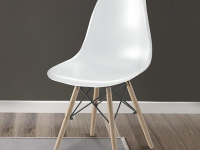 White Comfortable Chair with Wooden Legs and Metal Supports - Bergen