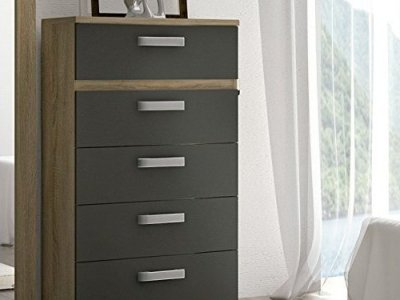 5 Drawer Tall Chest of Drawers - Cremona. Brown and grey