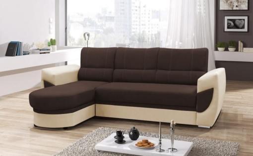 Sofá cama con chaise longue curvo de diseño - Alpera. Marrón, beige. Chaise longue lado izquierdo
