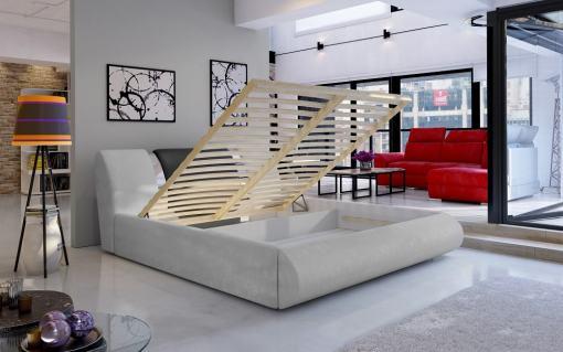Arcón abierto. Canapé abatible moderno 140 x 200 cm - Charlotte. Tela gris claro con gris oscuro