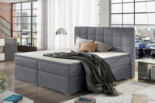 Double Bed 140 x 200 cm, Box Spring, Upholstered, with Storage - Isabella. Light Grey Fabric