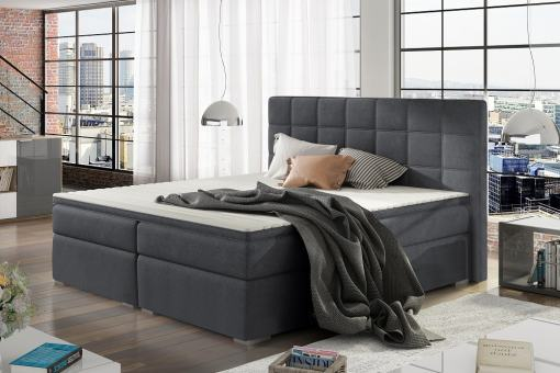 Double Bed 140 x 200 cm, Box Spring, Upholstered, with Storage - Isabella. Dark Grey Fabric
