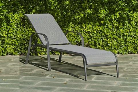 Cama para jardín de acero y textilen, color gris - Dominica