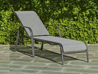 Grey Sun Lounger, Steel, High Strength Polyester - Dominica