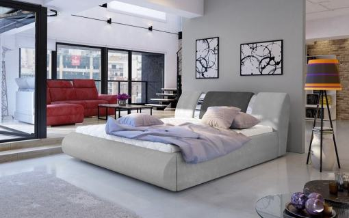 Большая двуспальная кровать с подъёмной реечной базой 180 x 200 - Charlotte. Светло-серая и тёмно-серая ткани