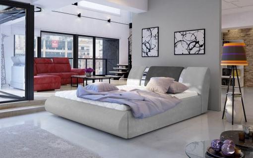 Modern Super King Size Lift-up Bed 180 x 200 cm – Charlotte. Light grey and dark grey fabrics