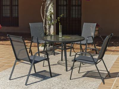 Patio Dining Set with Round Table 120 cm + 4 Chairs in Grey - Dominica