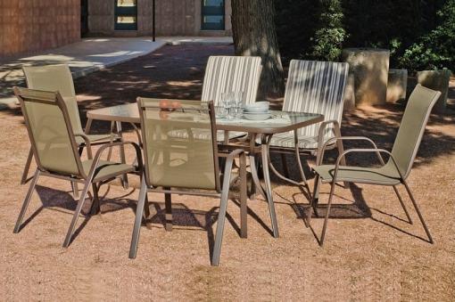 """Столовая группа для сада с прямоугольным столом 150 x 90 см и 4 стульями, цвет """"бронза"""" - Caribe"""