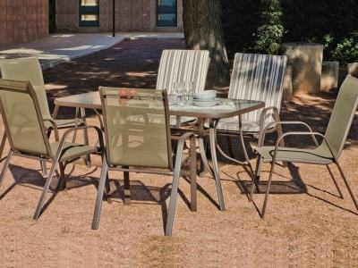 Patio Dining Set with Rectangular Table 150 x 90 cm and 4 Chairs, Bronze Color - Caribe