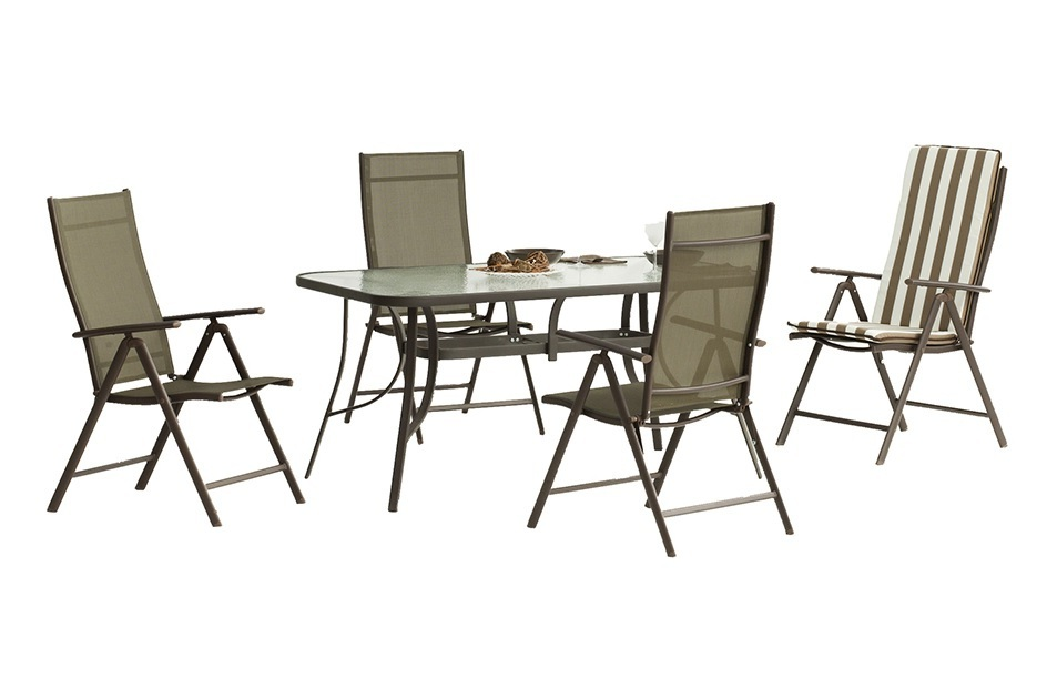 Outdoor Dining Set - Rectangular Table 150 x 90 cm + 4 Adjustable Chairs,  Bronze Color - Caribe - Don Baraton