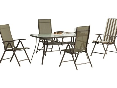 Outdoor Dining Set - Rectangular Table 150 x 90 cm + 4 Adjustable Chairs, Bronze Color - Caribe