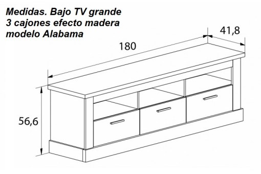 Dimensions. Large TV Stand with 3 Drawers, Imitation Wood Finish - Alabama