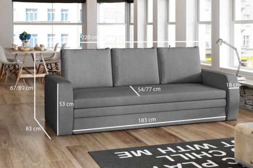 Dimensions of the 3 Seater Sofa Bed for Small Rooms - Liverpool