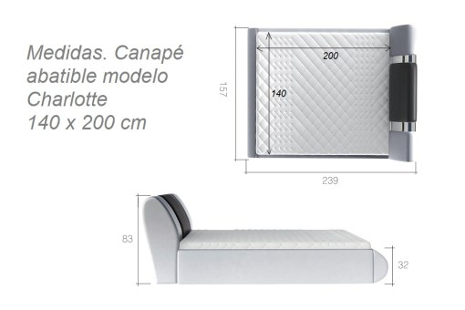 Medidas del canapé abatible moderno 140 x 200 cm - modelo Charlotte