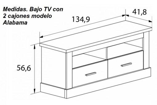 Medidas. Bajo TV con 2 cajones, acabado efecto madera, modelo Alabama