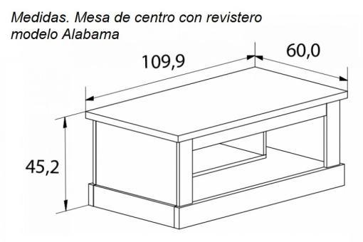 Medidas. Mesa de centro con revistero, acabado efecto madera modelo Alabama