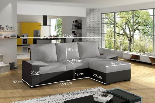 Medidas. Sofá chaise longue con cama grande y con arcón - Glasgow