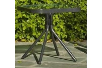 Mesa de jardín baja cuadrada 45x45 cm en aluminio color gris - Dominica