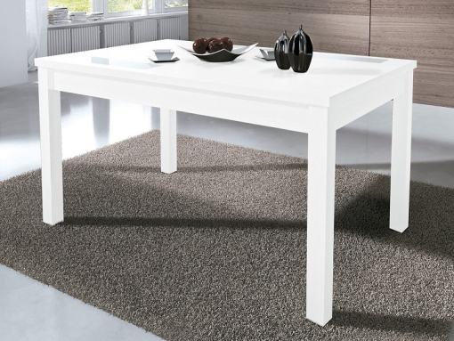 Mesa extensible rectangular color blanco, 140-180 x 90 cm con 2 cristales decorativos - Catania