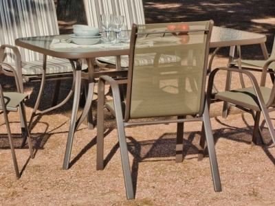 Rectangular Patio Table (180 x 150 cm) with Toughened Glass Top (Bronze Colour) - Caribe