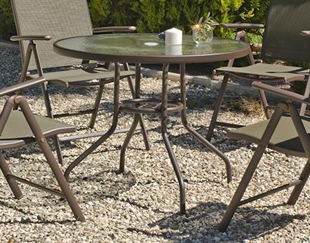 Круглый садовый стол 90 см, сталь и закалённое стекло - Caribe