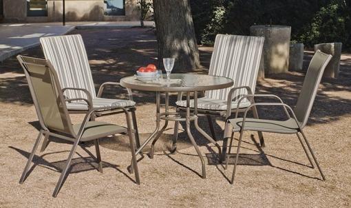 Set comedor de jardín - mesa redonda 90 cm + 4 sillas, acero, color bronce - Caribe