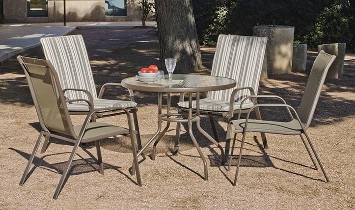 Set comedor de jardín - mesa redonda 90 cm + 4 sillas, color bronce -  Caribe - Don Baraton: tienda de sofás, colchones y muebles