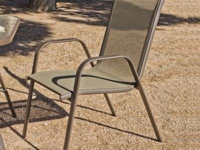 Stacking Garden Chair (Steel and Texteline), Bronze Color - Caribe