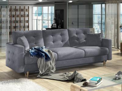 Sofá cama de 3 plazas tapizado capitoné - Copenhagen. Tela gris claro Soro 93