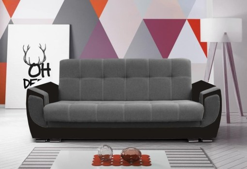 Sofa bed upholstered in fabric - Tarancón. Light grey fabric on backrest, dark grey on armrests. W11