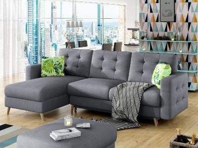 Sofá en forma de L con cama, tela gris claro Soro 93, tapizado capitoné - Copenhagen
