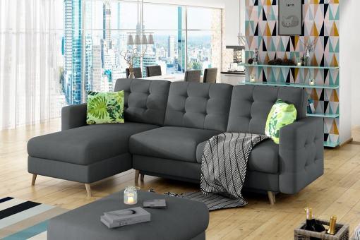 Sofá en forma de L con cama, tela gris oscuro Soro 95, tapizado capitoné - Copenhagen