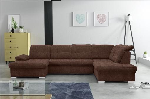 Sofá en forma de U con reposacabezas reclinables - Toronto. Color marrón. Tela Inari 28. Esquina lado derecho