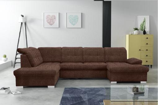Sofá en forma de U con reposacabezas reclinables - Toronto. Color marrón. Tela Inari 28. Esquina lado izquierdo