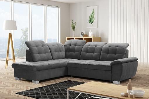 Угловой диван-кровать с высокими спинками и подголовниками с наклоном - Hamilton. Левый угол, серая ткань Alfa 19