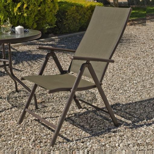 Tumbona de jardín plegable de 5 posiciones, color bronce(marrón metálico) - Caribe